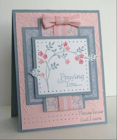 Good card layout pink and blue flowers feminine Making Greeting Cards, Greeting Cards Handmade, Tarjetas Diy, Embossed Cards, Stamping Up Cards, Get Well Cards, Pretty Cards, Card Sketches, Sympathy Cards