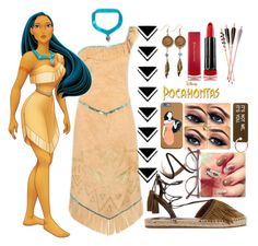 """Pocahontas inspired"" by janysha2369 ❤ liked on Polyvore featuring Disney, Aquazzura, American Coin Treasures, Max Factor, Various Projects, Burberry and Ace"