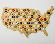 This is the best and highest rated beer cap map in the marketplace. Get a USA Beer Cap Map to show off yo… Diy Gifts For Him, Unique Gifts For Men, Craft Beer Gifts, Fun Gifts, Map Crafts, Gifts For Beer Lovers, Cute Valentines Day Gifts, Beer Caps, Bottle Cap Crafts