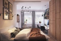 Small, cosy and stylish bedroom with scandinavian style interior design and accents. Framed modern art, hanging lights and grey curtains. By: Rover BC