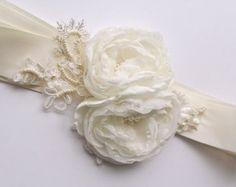 Custom Bridal Sash for Diane Magnolia Bridal Sash by BelleBlooms