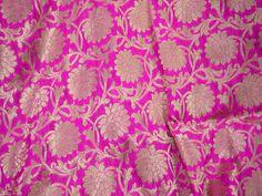 Indian Fabric Fuchsia Banarasi Brocade fabric by the yard, Bridal Wedding Dress Material Banaras Fabric Crafting, Sewing Costume fabric