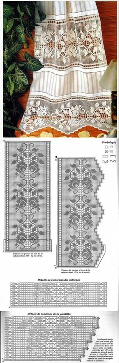 Crochet Patterns combine Skirt: combination of fabric and fillet pattern Filet Crochet, Crochet Patterns Filet, Crochet Lace Edging, Crochet Chart, Lace Patterns, Irish Crochet, Crochet Doilies, Crochet Stitches, Knit Crochet