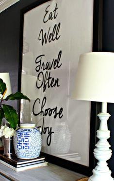 Large Inspirational Art for Foyer- Eat Well. Travel Often. Choose Joy.