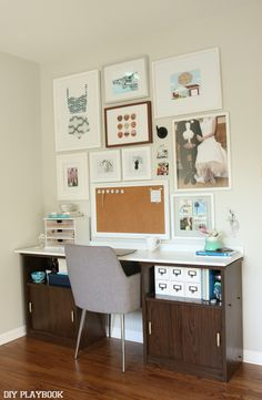Adding large frames and a bulletin board over an office desk makes the area functional & fashionable! Show off your personality on your walls!