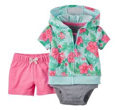 Carter's Nwt Nb 3M 6M 9M Infant Girl 3Pc Cardigan Bodysuit Tee Short Set $30