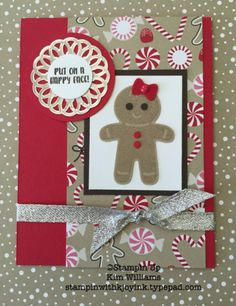 Stampin Up Cookie Cutter Christmas. Stampin with Kjoyink, Kim Williams. Pink Pineapple Paper Crafts. Candy Cane Lane designer paper is one of my favorites. Did this as a make n take at one of my meetings. Cute card idea for Christmas cards.