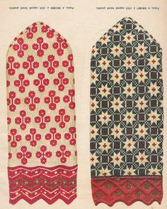 "petitepointplace: ""Icelandic knitting patterns for mittens. They'd be great for cross stitch as well. Knitted Mittens Pattern, Knit Mittens, Knitted Gloves, Knitting Socks, Hand Knitting, Knitting Charts, Knitting Patterns, Crochet Patterns, Fair Isle Knitting"