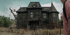 """The Neibolt house in the new """"It"""" was shot on four separate locations including an abandoned dilapidated Great Depression-era home for single mothers in which the production staff found creepy and desperate old notes and a basement filled with rats Old Abandoned Houses, Abandoned Mansions, Abandoned Buildings, Abandoned Places, Old Houses, Abandoned Detroit, Spooky Places, Haunted Places, Real Haunted Houses"""