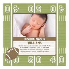 Football Photo Birth Announcement Cards #baby #birthannouncements #babyannouncements
