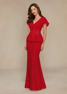 [$139.99] Mother of The Bride Dresses V-Neck Sheath/Column Red Chiffon