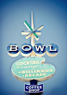 "Googie bowling alley sign, Oceanside CA. (Sign turned into an ""art print"" for modern collectors.) Vintage Signs For Sale, Vintage Neon Signs, Vintage Advertisements, Vintage Ads, Retro Advertising, Vintage Metal, Vintage Photos, Station Essence, Retro Signage"