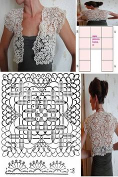 Beautiful crochet bolero with pattern crochetz com Crochet Bolero Pattern, Crochet Diagram, Crochet Motif, Crochet Shawl, Hand Crochet, Crochet Stitches, Crochet Patterns, Vest Pattern, Diy Crochet Sweater