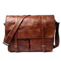 Men High-end Original Leather 14'' Laptop Briefcase Shoulder Bag Travel Satchel #Unbranded #BriefcaseAttache