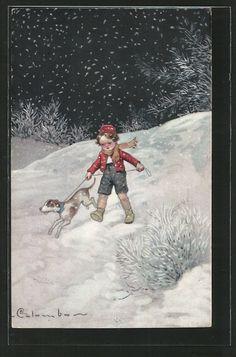 Künstler-AK E. Colombo: Knabe mit Hund im Schnee 0