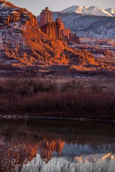 Fisher Towers Photos - Utah   Fisher Towers Reflects on the Colorado River on a January Evening