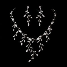 Cubic Zirconia Vine Wedding and Formal Jewelry Set