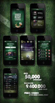 The Heineken Rugby Clubhouse App    Enabled users to take their team's kicks live in real time, ball placement and weather conditions true to real life.    - Award Awards Winner (Australia)   - App reached a ranking of 2nd in the - - Top Free Sports Applications and averaged a user rating of 4.5/5.... More design work at ...  www.benthayer.co.uk    Available for freelance  ben.thayer@hotmail.co.uk    Ben Thayer Senior Digital Designer