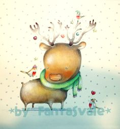 Cuddly Reindeer - Christmas Illustrations by Fantasvale  ***  Renna Coccolosa - Illustrazioni di Natale by Fantasvale  ***  Tutorial: www.youtube.com/Fantasvale