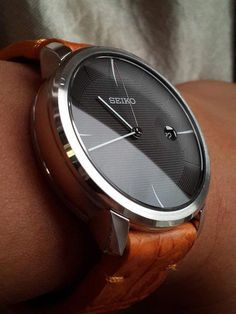 Seiko on a thick (exotic) leather strap - Watchbands Best Watches For Men, Amazing Watches, Luxury Watches For Men, Beautiful Watches, Cool Watches, Modern Watches, Stylish Watches, Vintage Watches, Watches Rolex