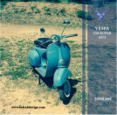 L'été approche  Une envie de liberté , un air #oldschool ,un pur style #italien Vespa 150 super 1973 Sur www.beknitdesign.com http://urlz.fr/3GuU