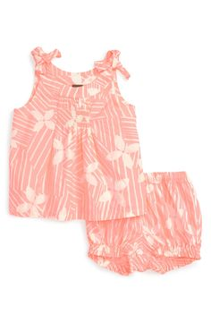 Free shipping and returns on Tea Collection 'Vimercati' Print Tank & Shorts Set (Baby Girls) at Nordstrom.com. A vibrant hue and floral-inspired pinwheel print give this breezy cotton outfit Italian flair, while tie shoulder straps and a smocked bodice add pretty finishing touches.