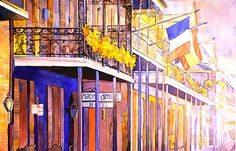 Watercolor painting of colonnaded hotel and by RFoxWatercolors, $39.99