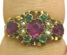 Victorian 15K Gold Ruby Emerald Paste Pearl Ring 1873
