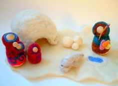 Eskimo Family Play Set With Igloo Wool and Wood by Zooble on Etsy, $52,00