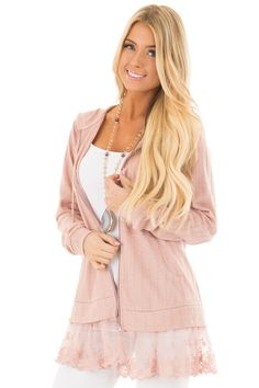 f90b7606bf Dusty Blush Zip Up Hoodie with Lace Hemline front close up Boutique Tops