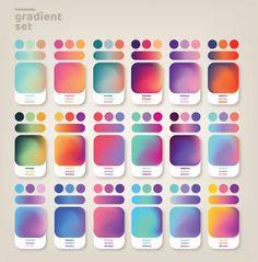 Gradient ideas set Premium Vector | Premium Vector #Freepik #vector #mobile #gradient #modern #app Colour Pallete, Colour Schemes, Color Combos, Rgb Palette, Graphic Design Inspiration, Color Inspiration, Color Mixing Chart, Skin Color Chart, Color Palette Challenge