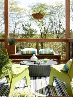 Try Affordable Updates  Fortunately it's easy and relatively inexpensive to swap out outdoor living accents. Go for new accent pillows, refreshed slipcovers, even a pair of complementary umbrella shades, for a reinvigorated outdoor living space. For exposed spaces, select options made from outdoor fabrics that withstand the sun's rays and dry quickly.