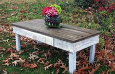 Large Coffee Table, Reclaimed Wood, Rustic Contemporary, Natural and Distressed White Finish - Handmade. $625.00, via Etsy.