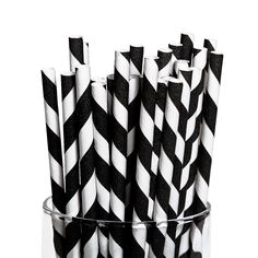 Black Striped Paper Straws - OrientalTrading.com