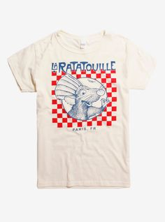 "Natural colored T-shirt from Disney Pixar's Ratatouille with a checkered ""La Ratatouille"" bistro inspired design featuring Remy on the front. dry low Imported Listed in men's sizes Disney Shirts, Disney Outfits, Ratatouille Disney, Motifs Textiles, Frederique, Cool Outfits, Fashion Outfits, Mein Style, Disney Style"