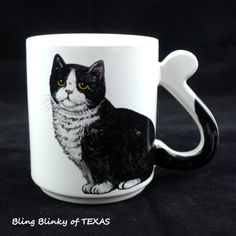 Kitty lovers curly tail Coffee Mug ..   BlingBlinky.com  ** SOLD .. SOLD **