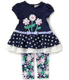 Rare Editions Baby Girls 12-24 Months Flower-Appliquéd Dress and Flower-Printed Leggings Set