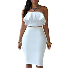Sexy Sleeveless White Dress Super Cute Halter Top White 2 Piece Size Med