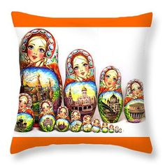 Traditional Russian nesting doll Moscow throw by Viktoriyasshop