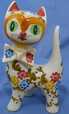 "Vintage Pottery Cat Figure Hand Painted. Smallish (6 3/4"" tall)."