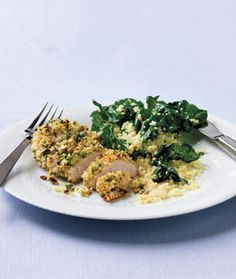 Pistachio crusted chicken, couscous and greens