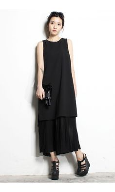 YHF - Two Tiered Maxi Dress in Black - Young Hungry Free