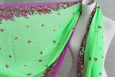 Bright green Flower butterfly scarf voile by blackbeanblackbean, $9.99