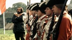 "stanley kubrick ckecking the perspective for the battle in ""barry lyndon"""