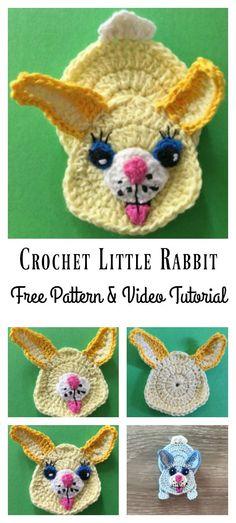 Rabbit Applique Free Crochet Pattern and Video Tutorial #bunny #crochet #freepattern