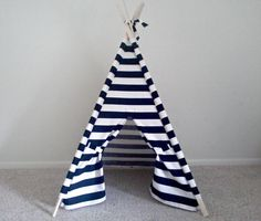 Teepee Play tent Wide stripe Black and White Pick your size Outdoor tent Made to Order