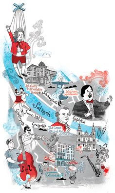 Illustrated map of Salzburg for National Geographic Traveller magazine. #illustration #map