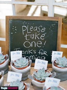 All the Adorable Details From Tiffani Thiessen's Baby Shower | THE GIFTS FOR GUESTS | Thiessen sent each guest home with small succulents potted in cute canvas buckets (from Maika Goods) as gifts.