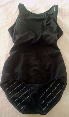 Speedo Womens Swimsuit 10 Solid Black One Piece Core Stabilizer Lined #Speedo #OnePiece