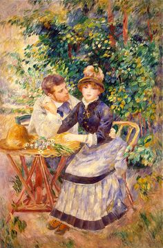 Impressionism; Impressionist; Male; Female; Relationship; Lovers; Flirtation; Coy; Seated; Attentive; Wooing; Flowers; Persistence; Persistent Painting - In The Garden by Pierre Auguste Renoir